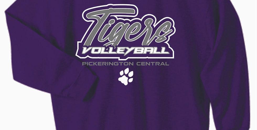 Tiger Volleyball Purple Script Cotton Crew