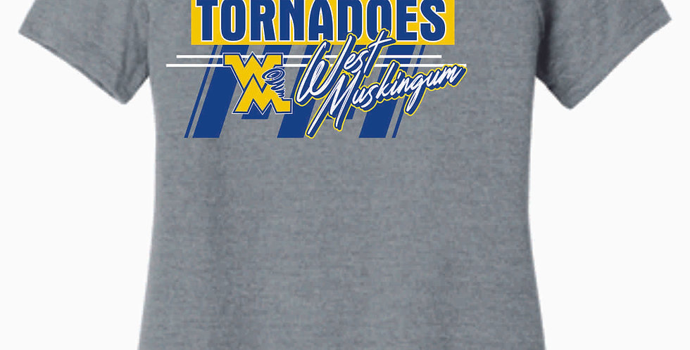 West Muskingum Striped Grey Ladies Soft Tee