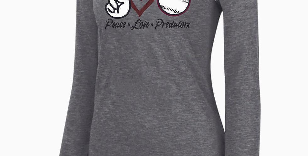 Predators Grey Peace Love Ladies G Logo Longsleeve