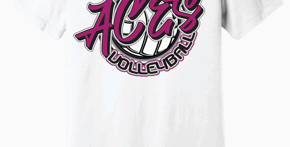 Aces Volleyball Bella Canvas Soft Script White T shirt
