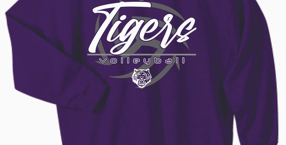 Tiger Volleyball Purple Ball Cotton Crew