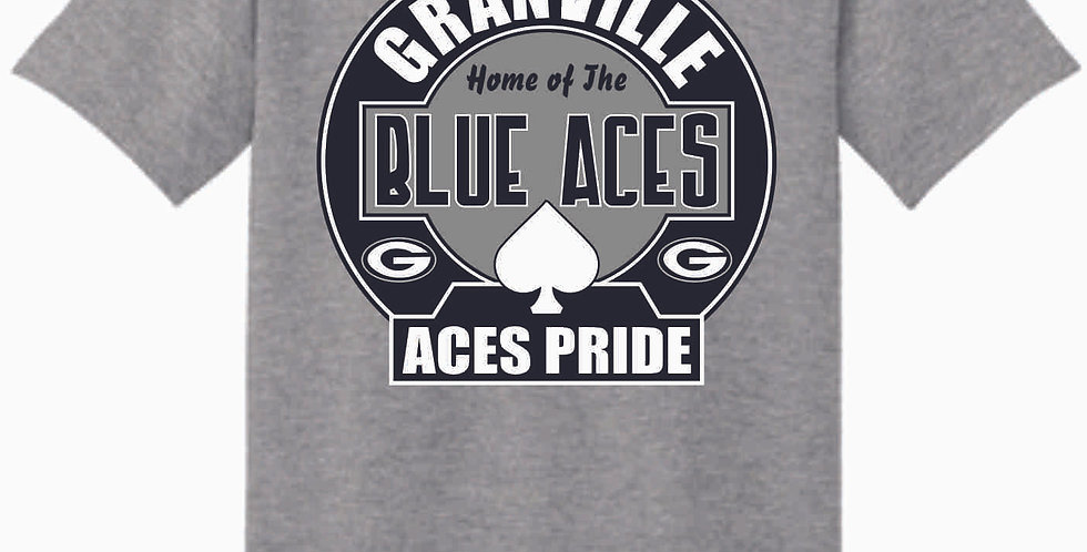 Blue Aces Grey Cotton T Shirt