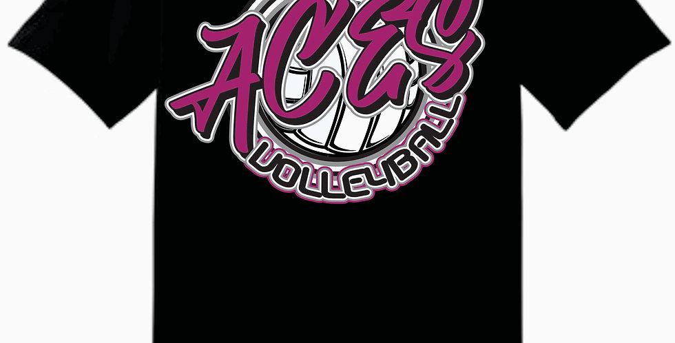 Aces Volleyball Gildan Script Black Cotton T shirt