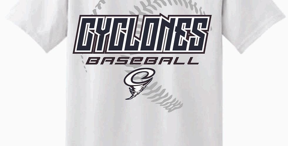 Cyclones White Script Cotton T Shirt