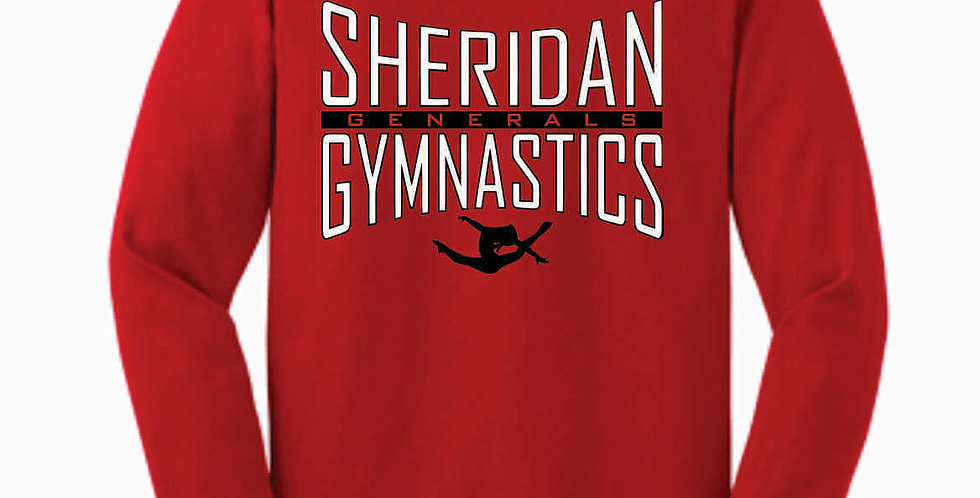 Sheridan Gymnastics Gildan Cotton Red Longsleeve
