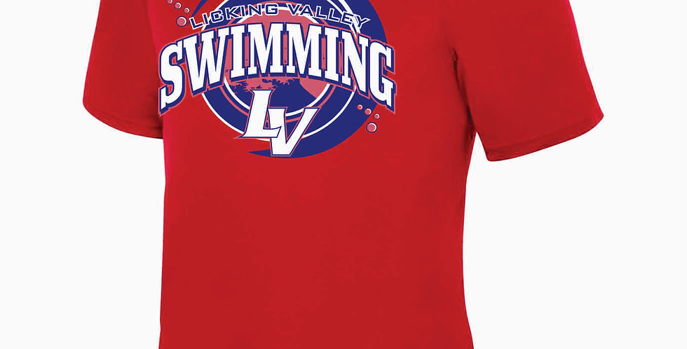Licking Valley Swimming Red Dri Fit Shortsleeve
