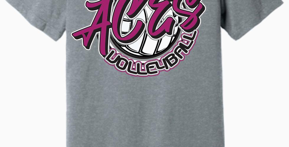 Aces Volleyball Bella Canvas Script Soft Grey T shirt