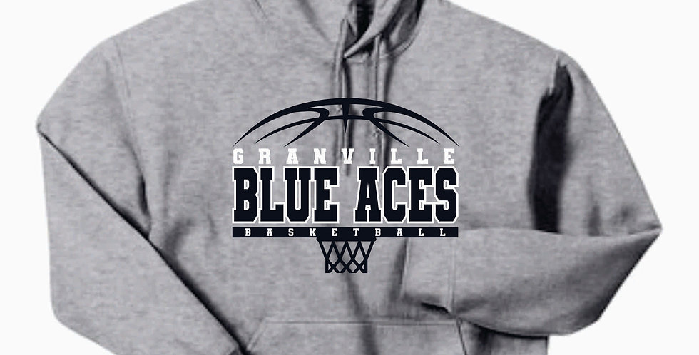 Blue Aces Simple Grey Gildan Cotton Hoody