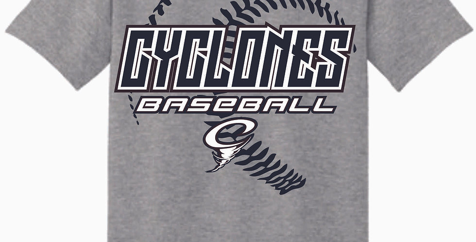 Cyclones Grey Script Cotton T Shirt