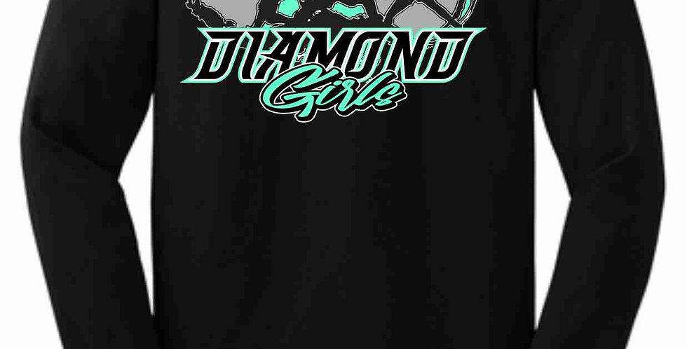 Diamond Girls Black Cotton Longsleeve Tee