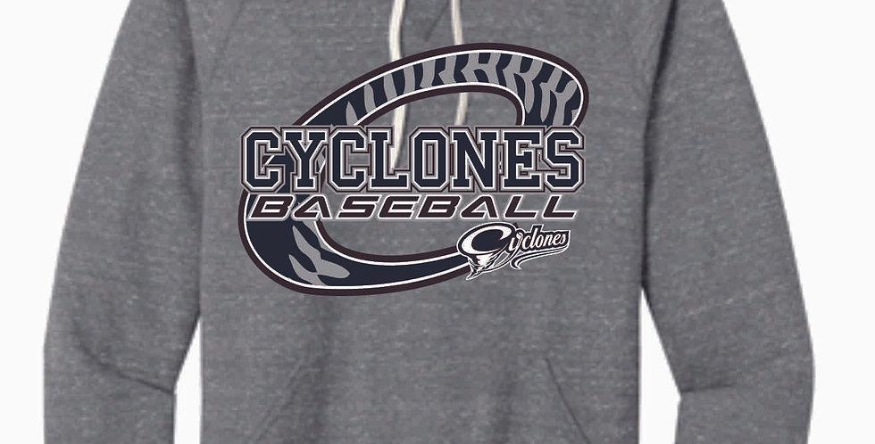 Cyclones Baseball Grey C Snow Heather Hood