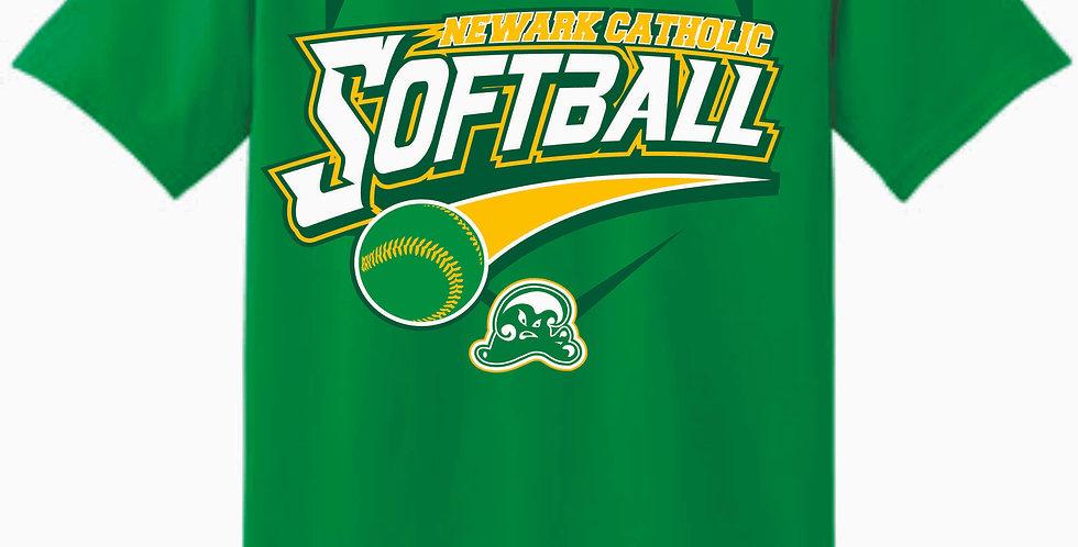 Newark Catholic Softball Green Cotton T Shirt