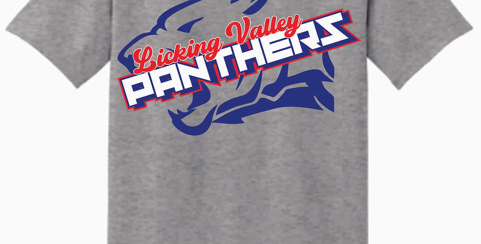 Licking Valley Panther Head Grey Cotton T Shirt