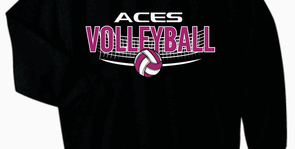 Aces Volleyball Gildan Black Cotton Crew