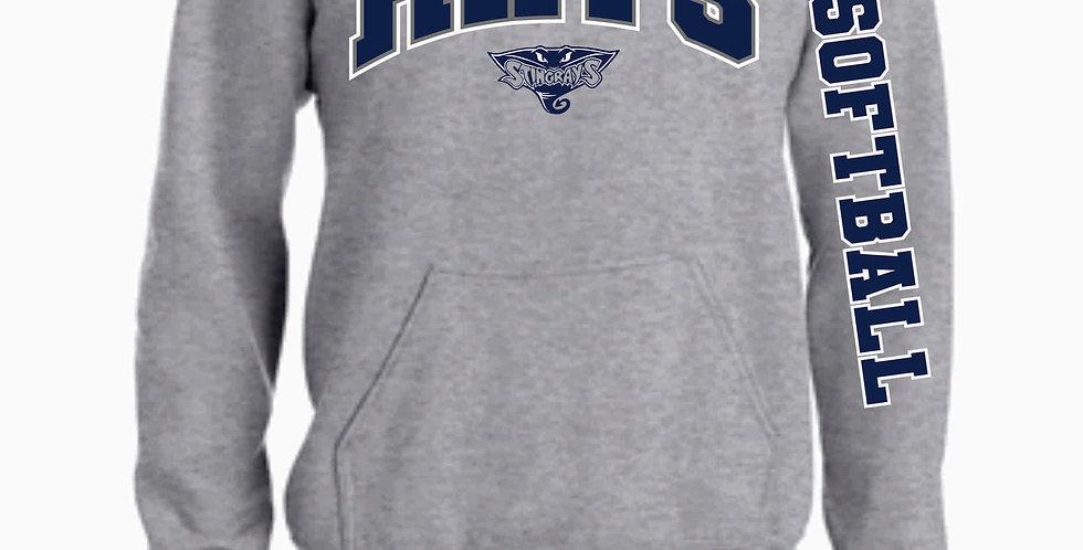 Rays Grey Cotton Hooded Sweatshirt