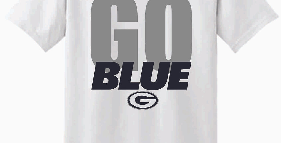 Go Blue White Cotton T Shirt