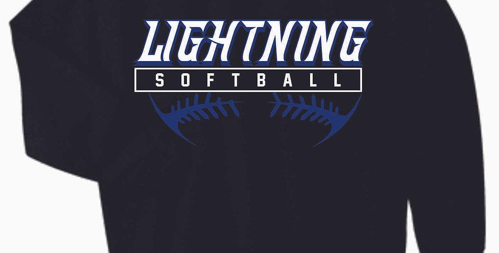 Lightning Softball Black Cotton Crewneck