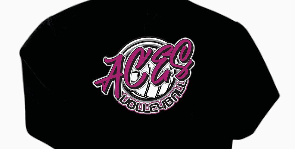 Aces Volleyball Gildan Cotton Script Black Hoody
