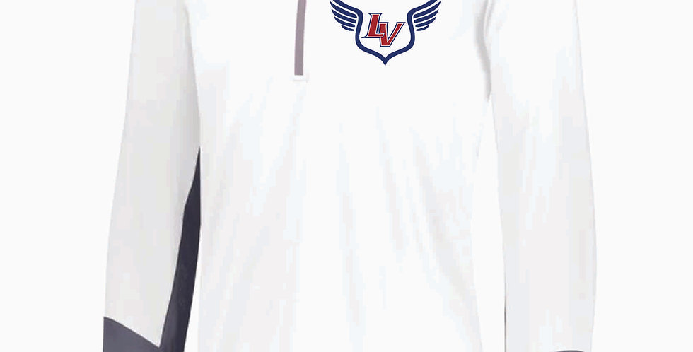 Licking Valley Track and Field White Russell 1/4 Zip Pullover
