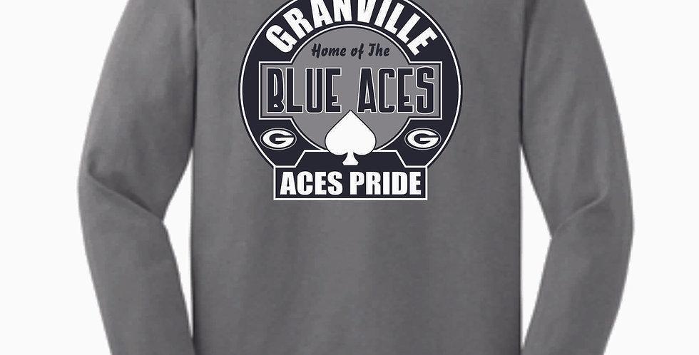 Blue Aces Grey Cotton Longsleeve
