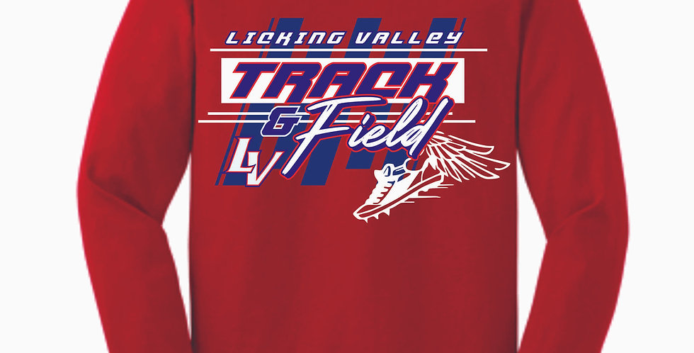 Licking Valley Track and Field Red Longsleeve