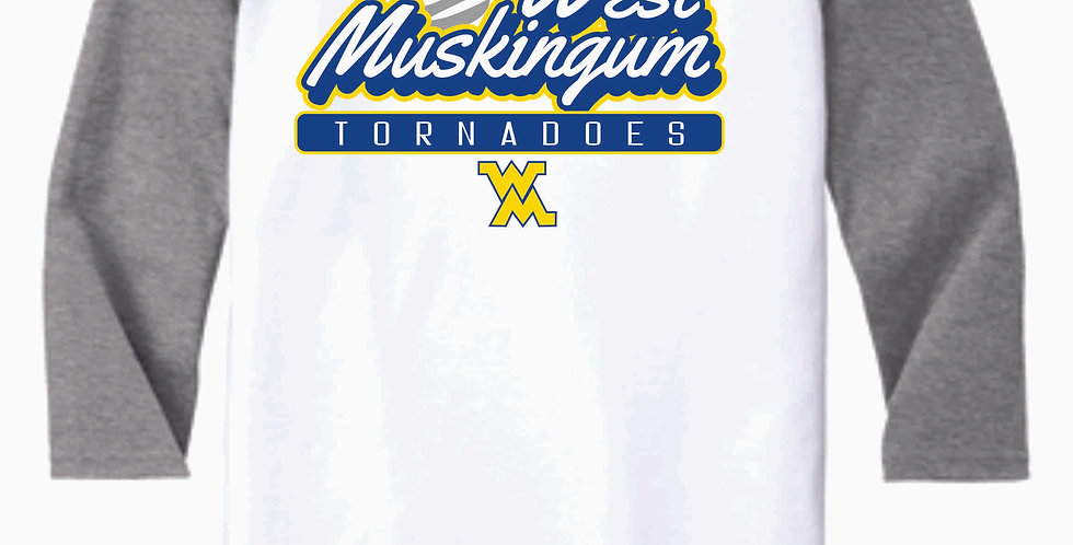 West M Middle School Grey/White 3/4 Length Tee