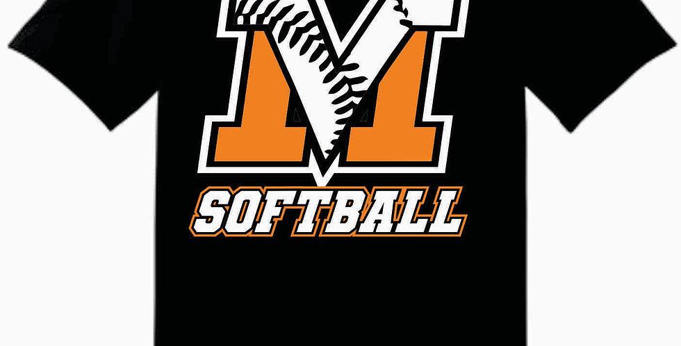 MV Softball Black Cotton T shirt