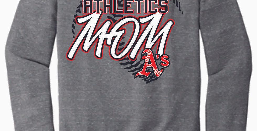 A's Baseball Grey Mom Jerzee Vintage Grey Snow Heather Crewneck