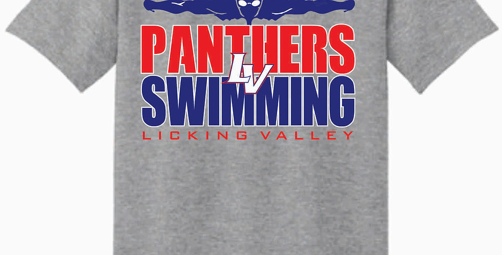 Licking Valley Swimming Grey Gildan Cotton Red T Shirt