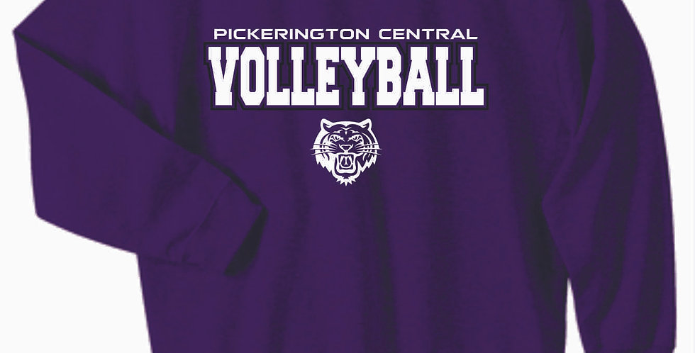 Tiger Volleyball Purple Script Cotton Crew