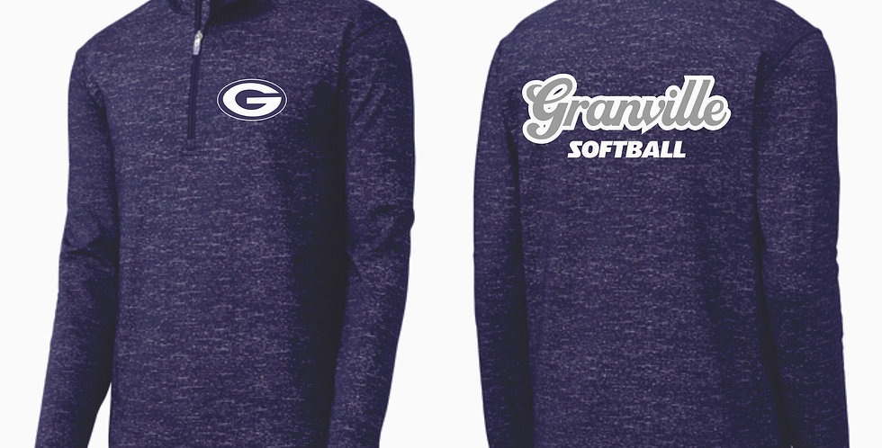 Granville Blue Aces Softball 1/4 Zip Navy Pullover
