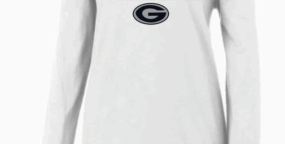 GHS Cheer White Nike Ladies Core Cotton Long Sleeve Scoop Neck Tee