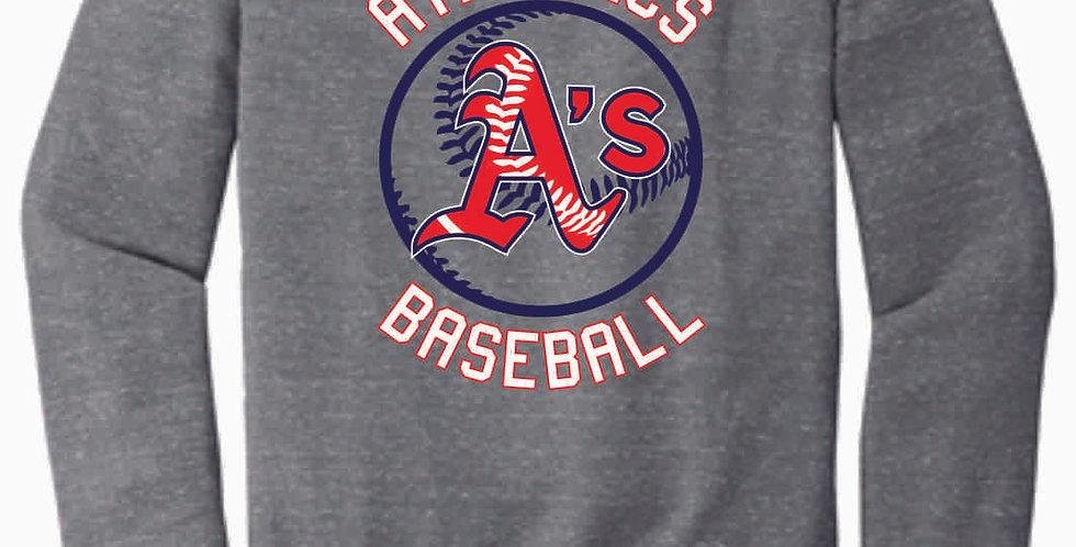A's Baseball Grey Circle Jerzee Vintage Grey Snow Heather Crewneck