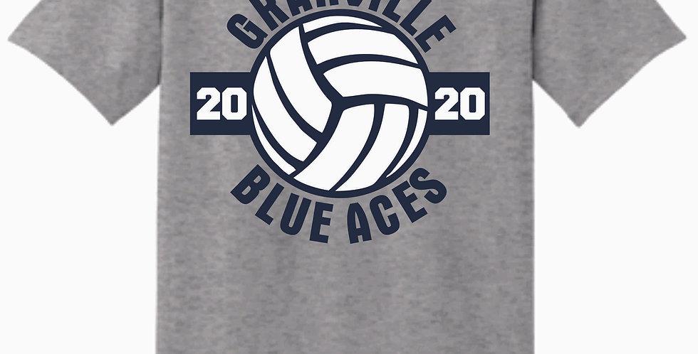 Granville Volleyball Sport Grey Cotton T Shirt