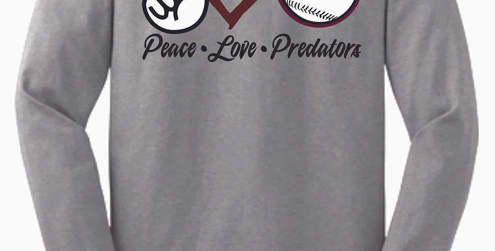 Predators Peace Love Grey Cotton Longsleeve