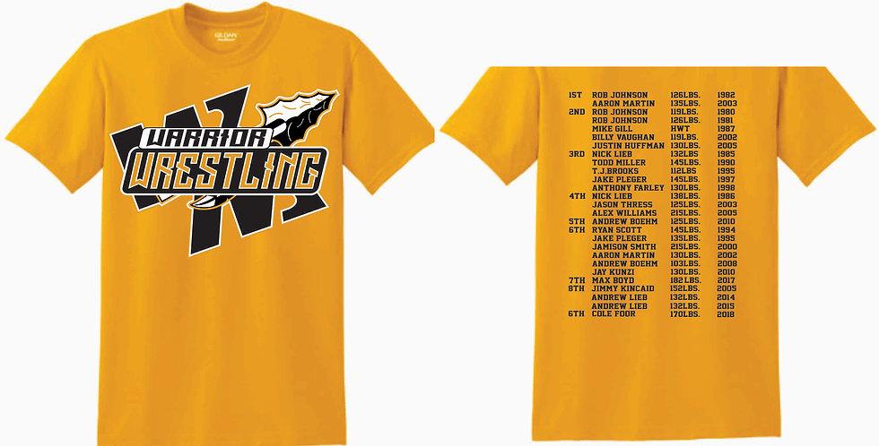 Watkins High School Wrestling Gildan Cotton Gold Mom T Shirt