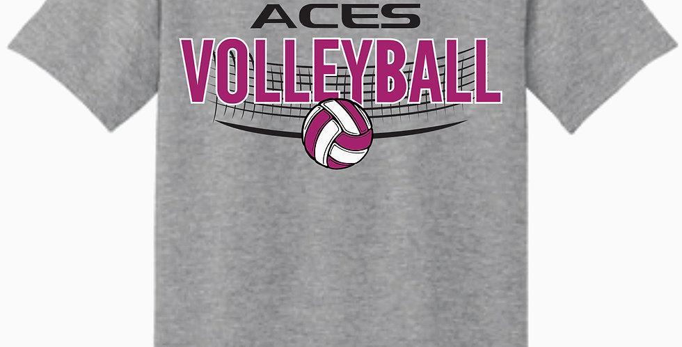 Aces Volleyball Gildan Grey Practice Cotton T shirt