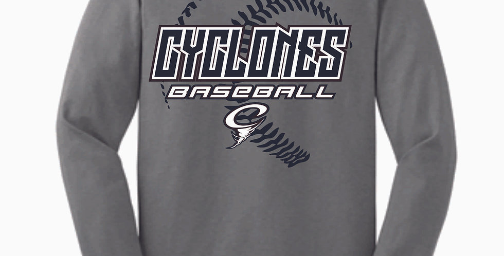 Cyclones Baseball Stitches Grey Cotton Longsleeve