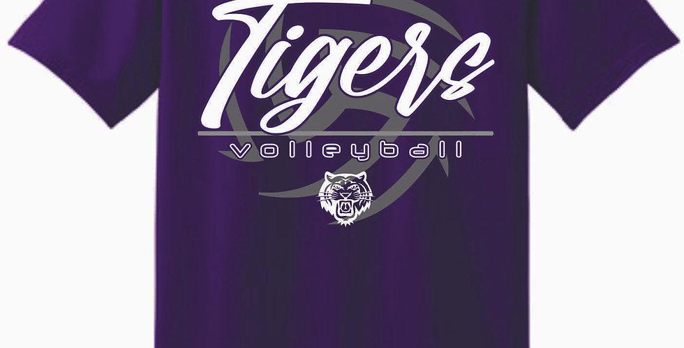 Tiger Volleyball Purple Ball Cotton T Shirt