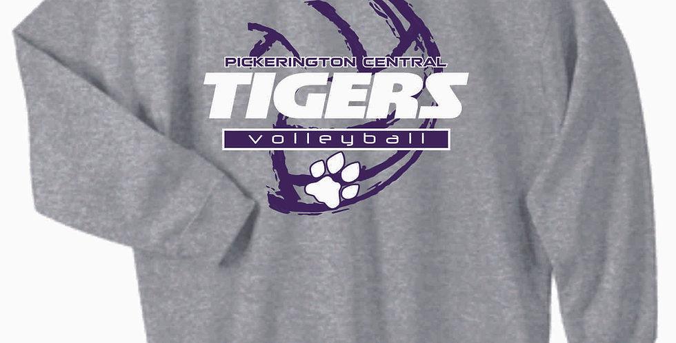 Tiger Volleyball Grey Ball Cotton Crew