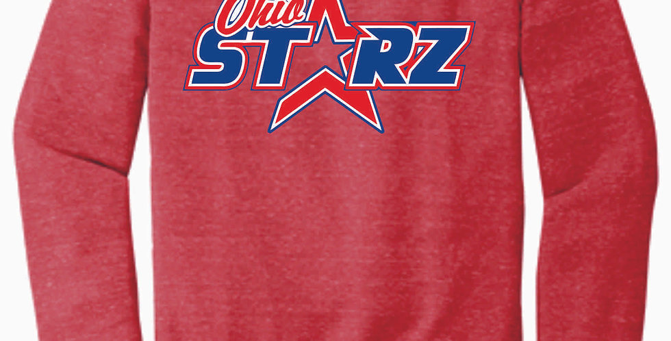 Ohio Starz Red Logo Jerzee Vintage Snow Heather Crewneck