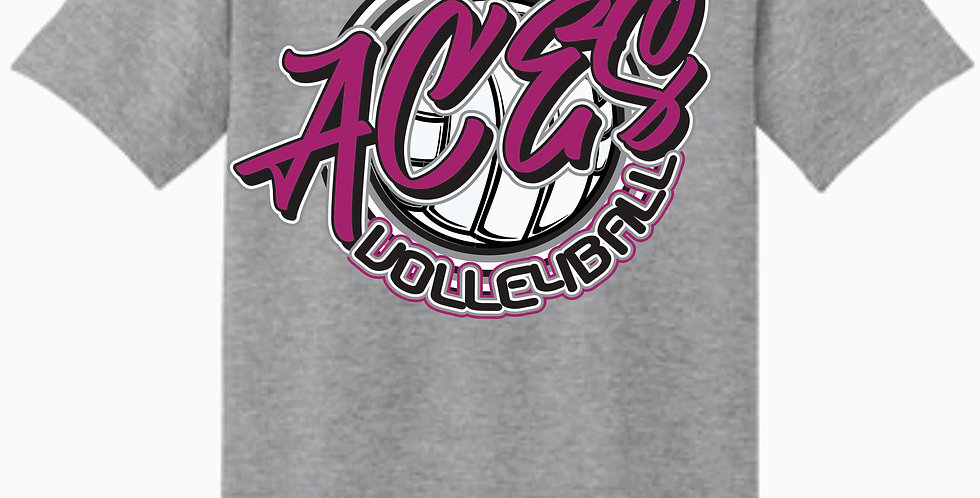 Aces Volleyball Gildan Script Grey Cotton T shirt