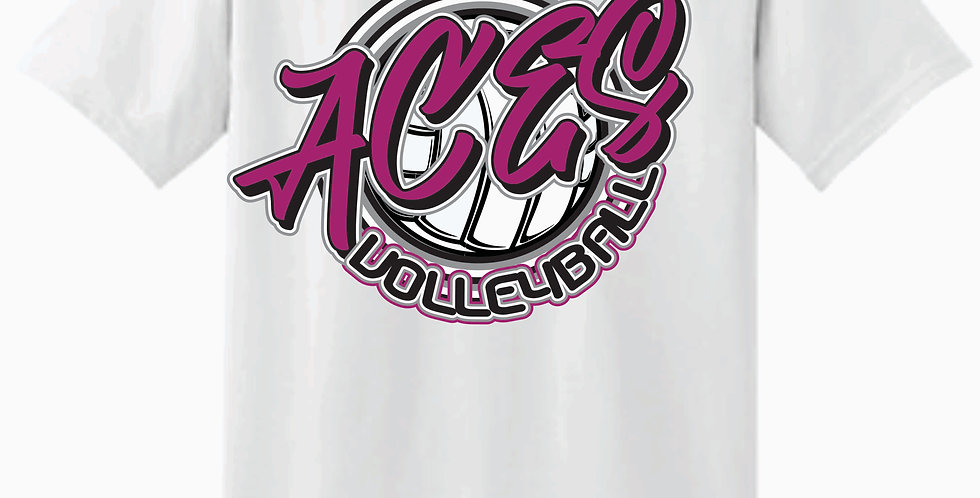 Aces Volleyball Gildan Script White Cotton T shirt