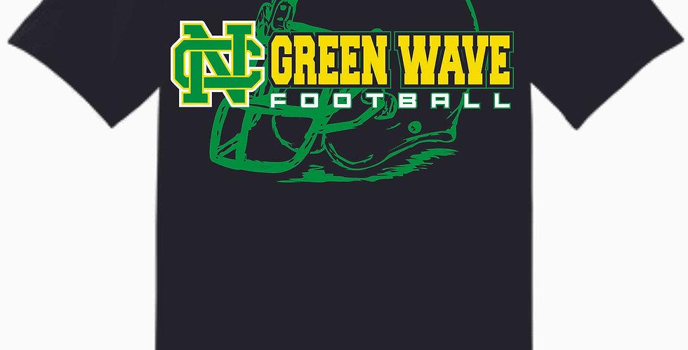 NC Football Black Cotton T Shirt
