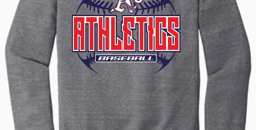 A's Baseball Grey Stitches Jerzee Vintage Grey Snow Heather Crewneck