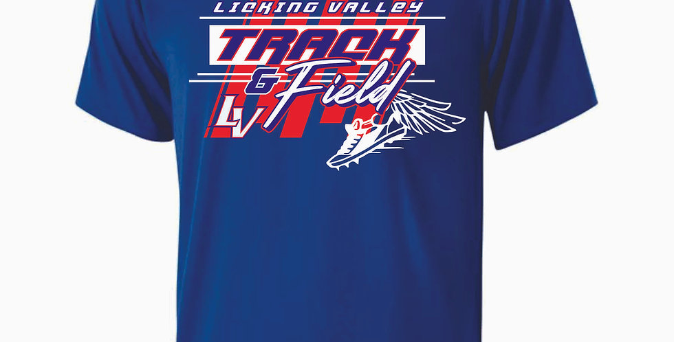 Licking Valley Track and Field Royal Dri Fit Shortsleeve
