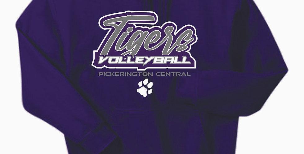 Tiger Volleyball Purple Script Cotton Hoody