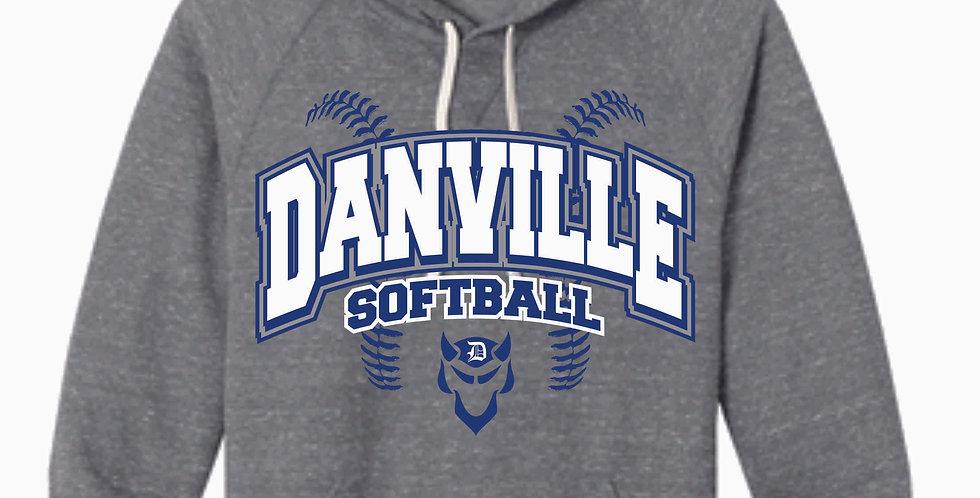 Danville Softball Jerzee Grey Snow Heather Vintage Hood