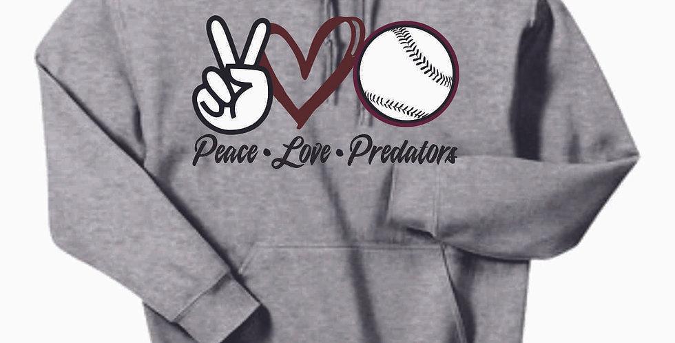 Predators Peace Love Grey Cotton Hoody