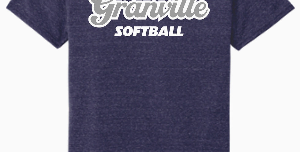 Granville Script Navy Jerzee Snow Heather T shirt